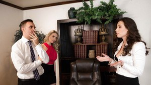 Lesbians Casey Calvert and Mia Malkova reveal bare asses in office