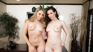 Office dykes Casey Calvert and Mia Malkova reveal small breasts and butts