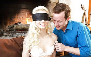 Young blond teen Elsa Jean blindfolded before giving and receiving oral sex