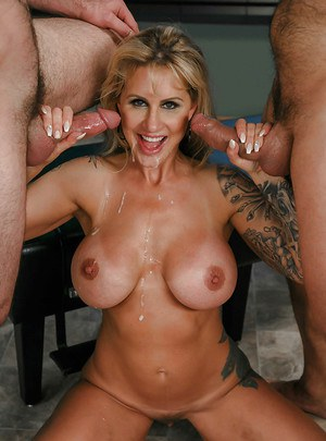 Aged blonde Ryan Conner taking anal sex in hardcore DP with doctors