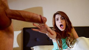Teen slut Joseline Kelly eats cum off of face after giving footjob and bj