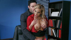Busty blonde secretary Olivia Austin takes cumshot in mouth in office