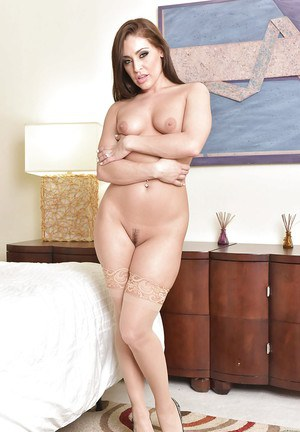Hot wife Gracie Glam poses for solo girl photo shoot in sexy lingerie