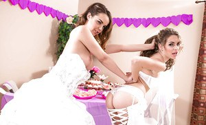 Lesbian pornstars Dillion Harper and Kimmy Granger humping on wedding night