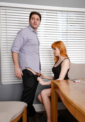 Hardcore office fucking featuring shaved vagina of redhead Anny Aurora