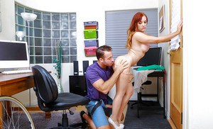 Redhead office worker Dani Jensen taking money shot in stockings