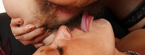 Older dykes in stockings use tongues to lick out each others hairy vagina