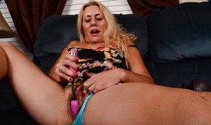 Experienced blonde Cristine Ruby masturbating hairy twat with sex toy