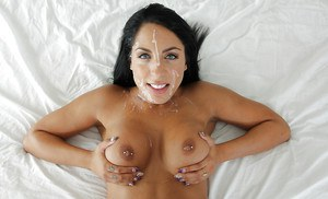 Busty amateur chick Mila Houston taking cumshot on face from big dick