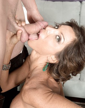 Busty over 40 MILF Lyla Lali licking ball sac while giving blowjob