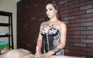 Non nude chick in lingerie interrupts massage for happy ending handjob