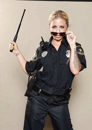 Solo girl Madelyn Monroe releasing boobs from police uniform