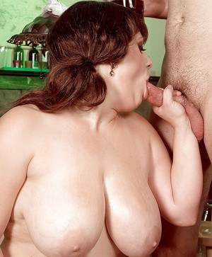 BBW Brandy Ryder tit fucking cock and sausage in stockings and heels