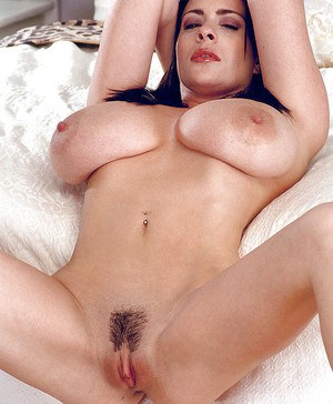 Euro babe Linsey Dawn McKenzie showing off huge MILF tits and hairy cunt