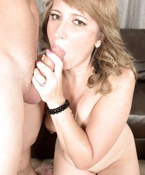 Over 50 blonde MILF Catrina Costa eating jism in hardcore sex action