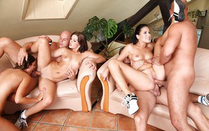 Groupsex orgy action with sluts Lucy Bell, Iwia and Rihanna Samuel