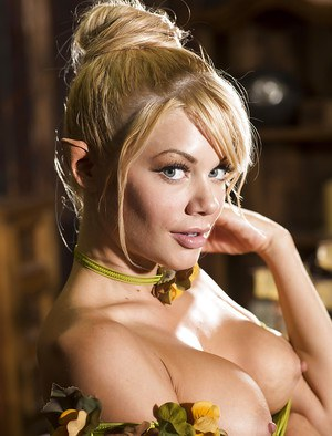 Blonde cosplay babe Riley Steele reveals big pornstar tits and phat ass