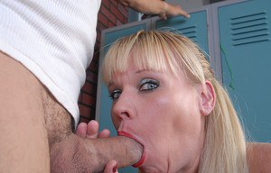 Aged blonde Haley taking cumshot in mouth after giving big cock oral sex
