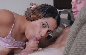 Mature fatty Mercedez licking cock with tongue while giving blowjob