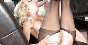 Hot blonde granny Erica Lauren delivers hardcore bj in crotchless pantyhose