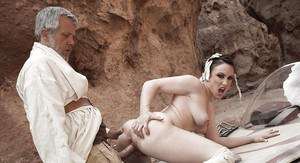 Cosplay pornstar Jennifer White takes hardcore banging of bald twat outside