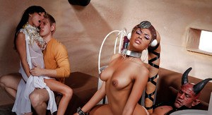 Interracial cosplay threesome with pornstars Gia Dimarco and Rihanna Rimes
