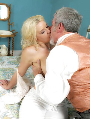 Blonde pornstar Anikka Albrite taking hardcore cumshot from old man