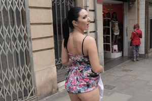 Latina babe Pamela Sanchez flashing upskirt ass and hairy pussy outdoors