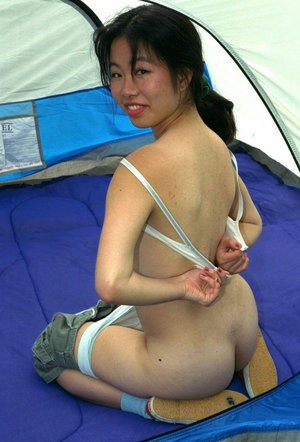 Asian amateur Ivy baring tiny breasts and spreading labia lips
