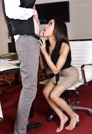 Petite office worker Shay Evans giving footjob for hardcore cumshot on feet