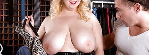 Obese blonde Nikky Wilder releasing huge hooters before taking anal sex
