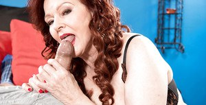 European redheaded granny Katherine Merlot giving blowjob in lingerie