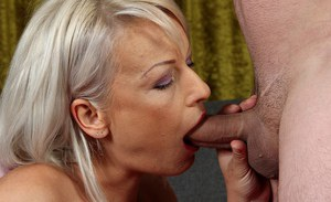 Mature woman Vanessa Moore deepthroats cock while giving bj on knees