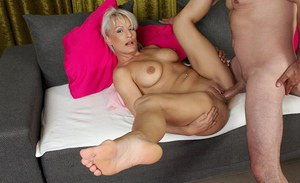 Older blonde cougar Vanessa Moore taking hardcore fucking of shaved cunt