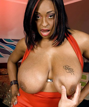 Black MILF Carmen Hayes tit fucking and jerking cock for cumshot on juggs