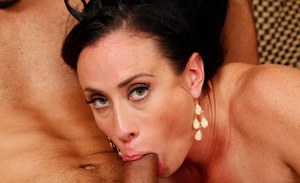 Mature Spanish woman Aerial Cruz giving bj and spitting cum from mouth
