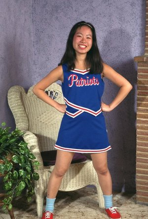 Asian amateur Ivy shedding cheerleader uniform for hairy cunt exposure