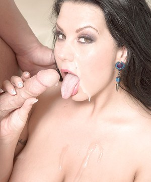 Busty brunette mommy Sheridan Love taking cumshot in mouth after blowjob