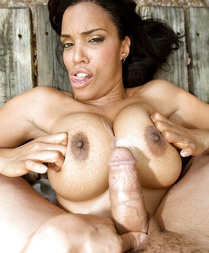 Busty black lady Soleil Hughes tit fucking cock outdoors for cum on tits
