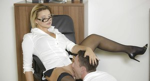 Stocking attired Anna Polina taking hardcore office fucking in high heels