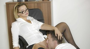 Glasses attired office worker Anna Polina receiving hardcore banging