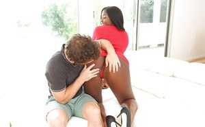 Big booty black chick Camille Amore taking cum on face from big white cock