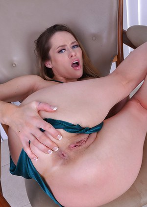 Barefoot MILF Rebecca Blue showing off nice butt and spreading shaved pussy