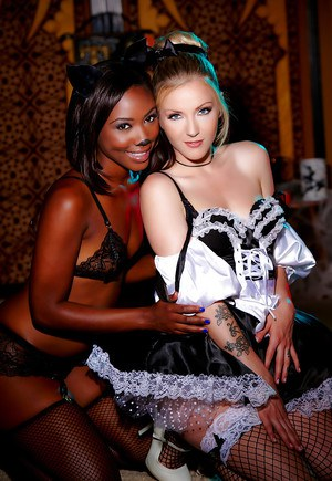 Interracial cosplay lesbians Chanell Heart and Karla Kush licking pussy
