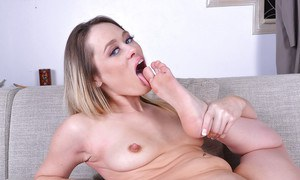 MILF babe model Rebecca Blue showing off pretty feet and shaved cunt