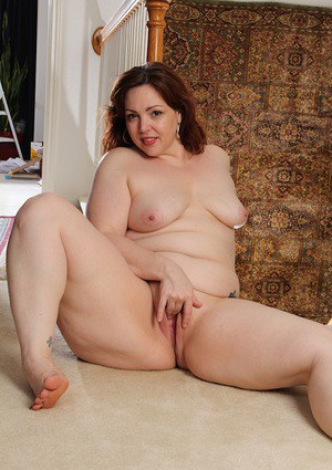 BBW Ember Rayne strips off pantyhose before masturbating hairy MILF pussy