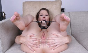 MILF solo girl Rebecca Blue spreading legs to reveal shaved cunt
