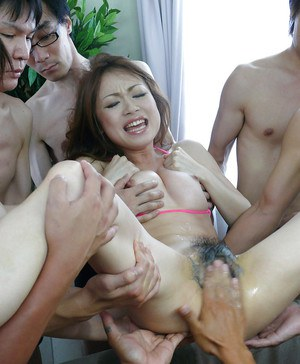 Japanese chick Sara Seori sees hairy vagina fingered and fucked in gangbang