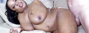 Black chubby Goldie Jackson takes cumshot on huge boobs from big cock