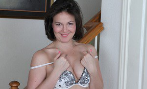 Chubby brunette MILF Penny Prite exposing tiny tits and chunky ass